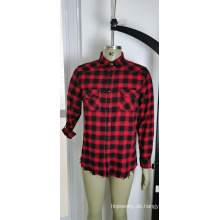 100% Baumwolle rot und schwarz kariertes Herrenhemd