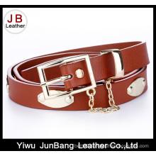 Fashionable PU Lady Belt with a Metal Pendant