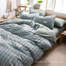 Hot Sale Homestay Luxury Deep Pocket Cheap Price Cotton Bed Sheets Steel Blue Plaid