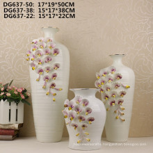 Hot sale small mouth white flower ceramic vase for home decor
