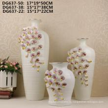 Горячая распродажа маленький рот белый цветок керамическая ваза для домашнего декора