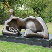 decoração do jardim de artesanato de metal Henry Moore bronze mãe com escultura do bebê