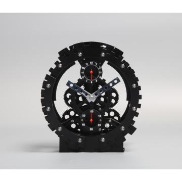 Black Round Table Gear Clock