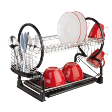 Stainless steel 2-Tier dish stand with cup holder