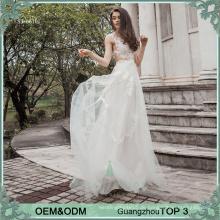 2017 Champagner-Spitze see-throgh Hochzeitskleid imge Fußbodenlänge reizvolles Hochzeitskleid für Braut