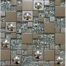 Glass Mosaic Wall Tile, Stainless Steel Metal Mosaic (SM254)