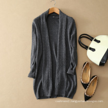 Cable knit pure cashmere knitting long cardigan women sweater coat