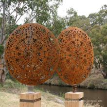 Decoração pública moderna escavada grande escultura de aço corten de jardim