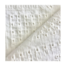 high quality 100% cotton white woven floral embroidery  fabric for women clothing