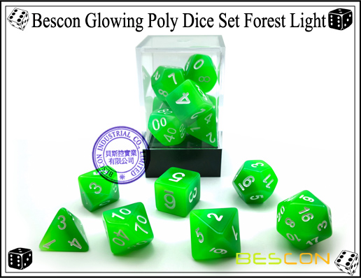 Bescon Glowing Poly Dice Set Forest Light-1