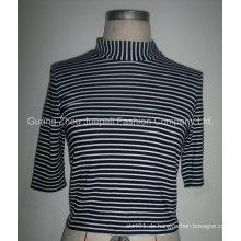 Damen Strick Rayon Striped Mock Nect Tops