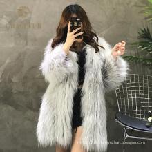 Abrigos de pieles reales del mapache de la moda de alta calidad de lujo