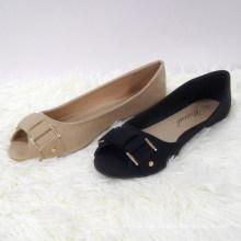 Moda mais recente design brilhante brilhante plana comfy Peep Toe sapato sapatos femininos plana sapatos casuais