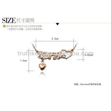 Halskette mit 2013 Art und Weise reizende rosafarbene Goldedelstahl
