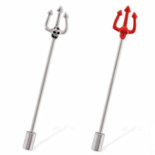 Skull Pitchfork Punk Industrial Straight Barbell