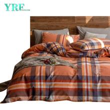 Cheap Price Home Textile Cotton Bedding Set Printed Checkered Orange Duvet Cover