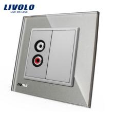 Livolo EU gris panneau de verre cristal livraison gratuite un microphone et une prise vidéo