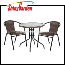 Amazon Flash Furniture Round Glass Metal Table with Rattan Edging and 2 Rattan Stacking Chairs , bistro set