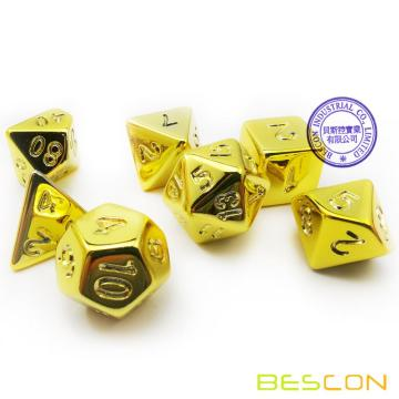 Bescon Golden Unpainted Plating Polyhedral Dice Set, RPG Dice Set of 7