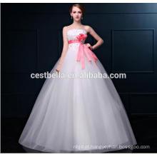 Vestido de noiva de vestido de baile com vestido de casamento com faixa branca