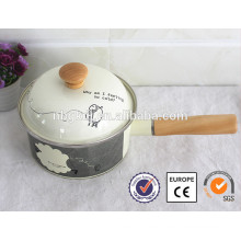 Eco-friendly ,SGS enamel titanium cookware with wooden handle
