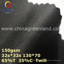 Twill Polyester Cotton Woven Black Fabric for Garment Cap (GLLML368)