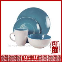 Vajilla de barro de 4 piezas, cena china azul conjunto