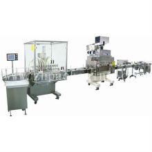 Línea automática de embalaje de líquidos con línea de llenado y etiquetado de llenado