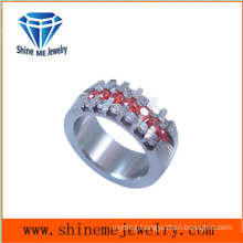 Fashion Red Zircon Wirecut Stainless Steel Jewelry Ring