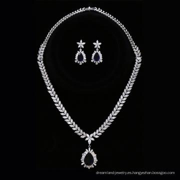 Set-222 Xuping aleación de zinc joyería de boda color plata conjunto nupcial, pendiente y collar joyería de moda de las mujeres conjunto