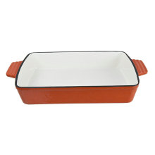 cast iron rectangular enamel dish for baking