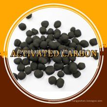 Carbono ativado esférico com baixo teor de iodo e carvão
