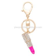 AOU Lipstick em forma Hot Sale Unique Design Fashion Energeled Alloy Bag Keychain