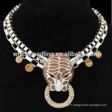 Rétro exagéré punk léopard pendentif collier à chaîne courte