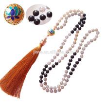 Yoga Jewelry ,108 Black Shiny Moonstone Lotus Mala Beads Tassel Necklace
