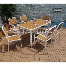 2017 7pcs outdoor aluminium plastic wood furniture