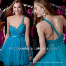 Blue Slender Band A Line One Shoulder Sequin Crystal Mini Short Graduation Dress Robe de mariée