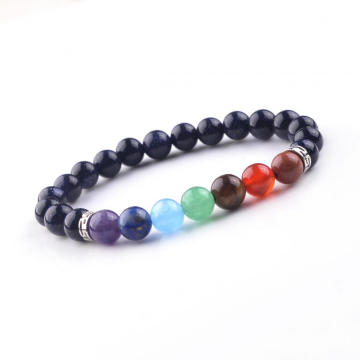 Custom Fancy Ladies 8MM 7Chakra Charm Blue GoldStone Bead Bracelets