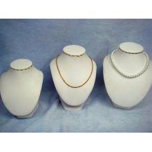 Soporte de exhibición blanco de la joyería del collar de cuero de la PU (NS-BL-N1-N2-N3)
