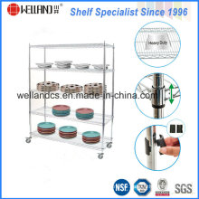 High Quality Metal Chrome Plate Restaurant Kitchen Shelving with Wheels
