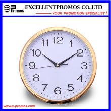 Gold Frame Logo impressão rodada relógio de parede de plástico (Item12)