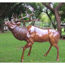 estátua de bronze alce jardim