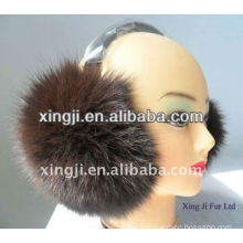 Top quality dyed fox real fox fur earmuff