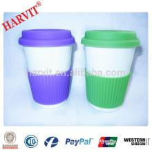 Wholesale Ceramic Travel Mug Silicone Sleeve Lid