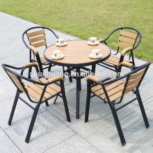 Modern cheap plastic wood outdoor furniture aluminum frame wooden dining set