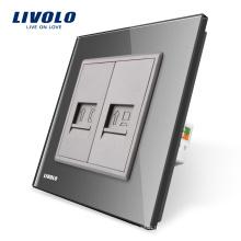 Livolo Стандарт ЕС Серый Кристалл Стеклянная панель для настенных розеток Телефон и розетка VL-C791TC-15