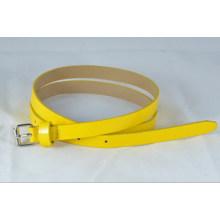 thin width of girl Fashion yellow PU garments belt