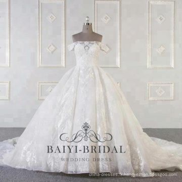 Wholesale de luxe hors épaule robes de mariée avec longue robe de bal de train