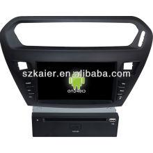 Android System lecteur dvd de voiture pour Peugeot 301 avec GPS, Bluetooth, 3G, ipod, jeux, double zone, contrôle du volant