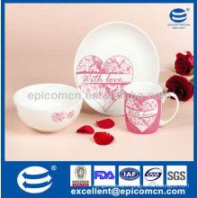 3Pcs Porcelain Breakfast Set For valentine BC8024